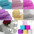 1 Yards 24 Rows 4mm Rhinestone Bouquet Holder Ribbon Diamond Mesh Bouquet Wrap Sparkle Wedding Decoration  FW125