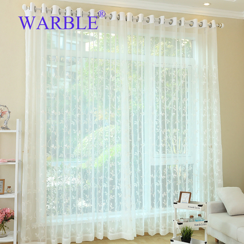 WARBLE White Embroidered Voile Curtains Bedroom Sheer For Living Room Tulle Window Panels