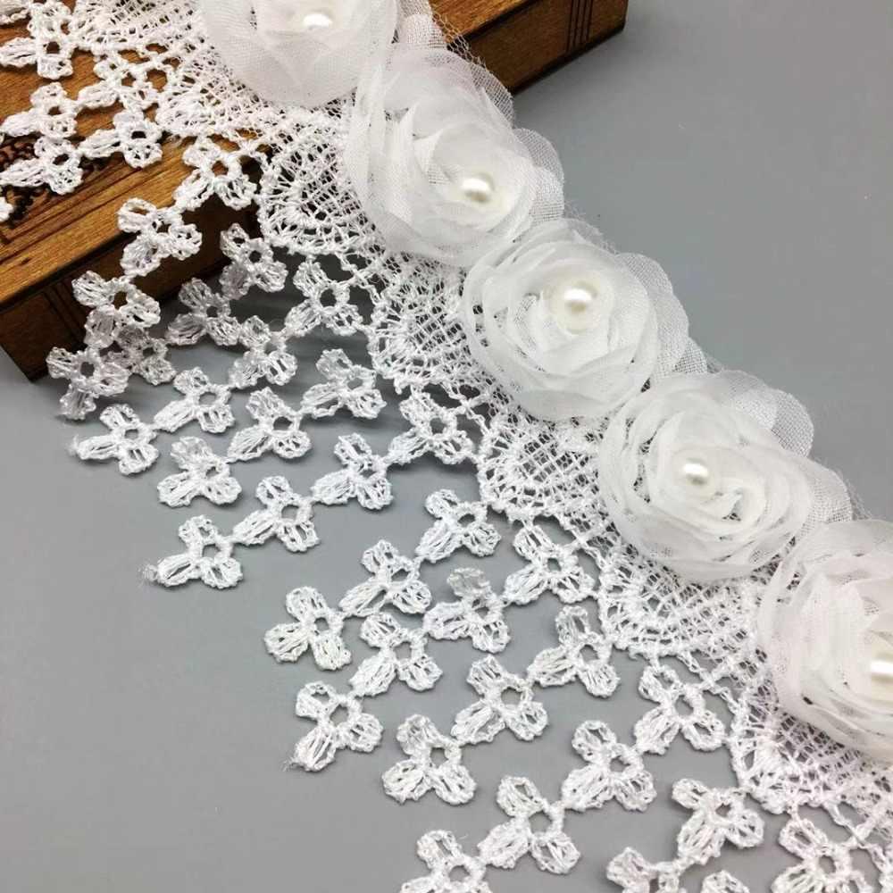 10 Pcs Putih Chiffon Bunga Mutiara Aplikasi Hiasan Rumbai Renda Tepi Pita  Kain Renda Pengantin Manik-manik untuk Pernikahan Gaun Jahit kerajinan