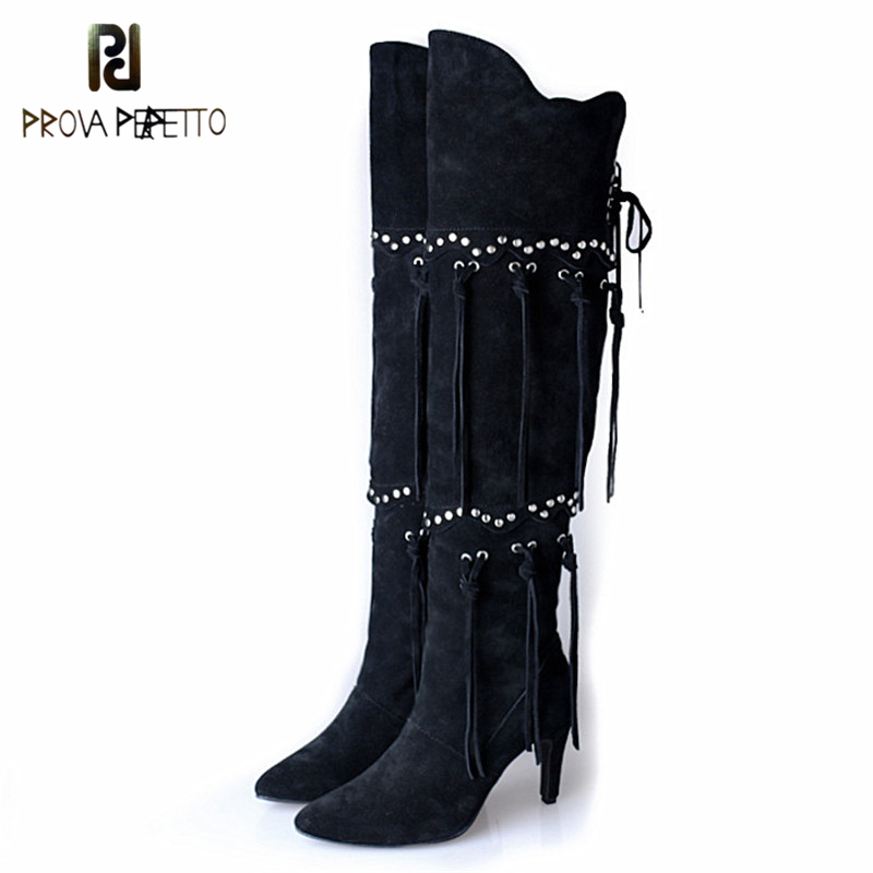 Prova Perfetto High Quality Real Cow Suede Thin Heel Over The Knee Boots Fashion Solid Fringe Zipper Pointed Toe High Heels Boot prova perfetto winter plush in warm boots suede leather bling fringe design over the knee boot solid spike heels knight shoes