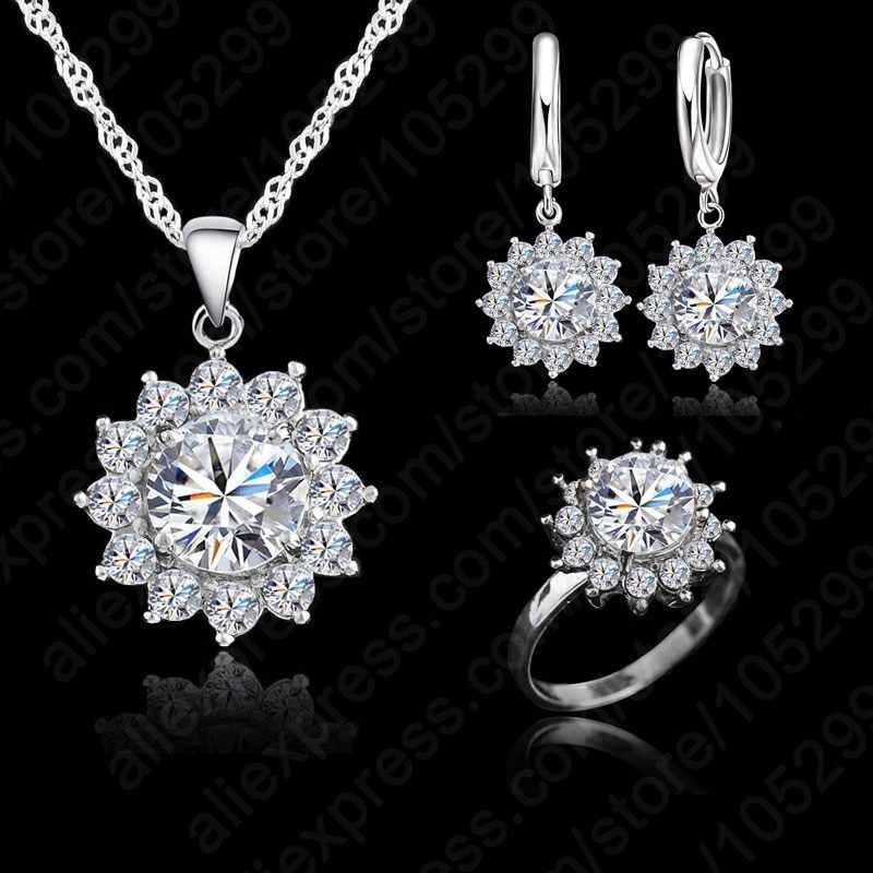 Neue Mode Blume Sonne Zirkonia Neueste Echtes Silber Schmuck Sets Ohrringe Anhänger Halskette Ringe Size6-9