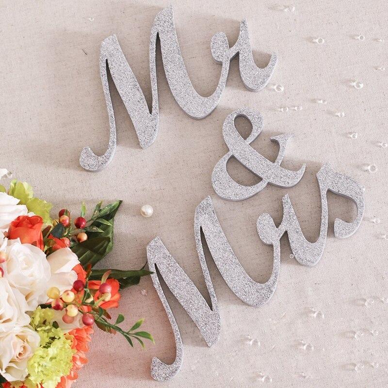 Серебряные блестящие Mr & Mrs знаки Mr & Mrs буквы для милая Таблица Декор Mr & Mrs LettersMr & Mrs свадьба знак