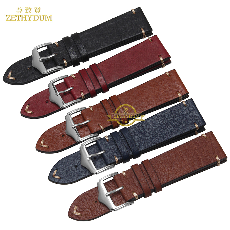 Retro Frosted Genuine leather watch strap bracelet handmade watchband 20mm 22mm watch band with Thread wristwatches wholesale 22mm 24mm 26mm frosted dark blue retro soft mate genuine leather watchband watch strap for pam and big watch free shiping