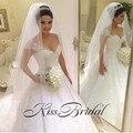 vestido de noiva Beaded Sexy Wedding Dress 2016 V-Neck Short Sleeves Zipper Back Court Train Bride Gown Top Selling