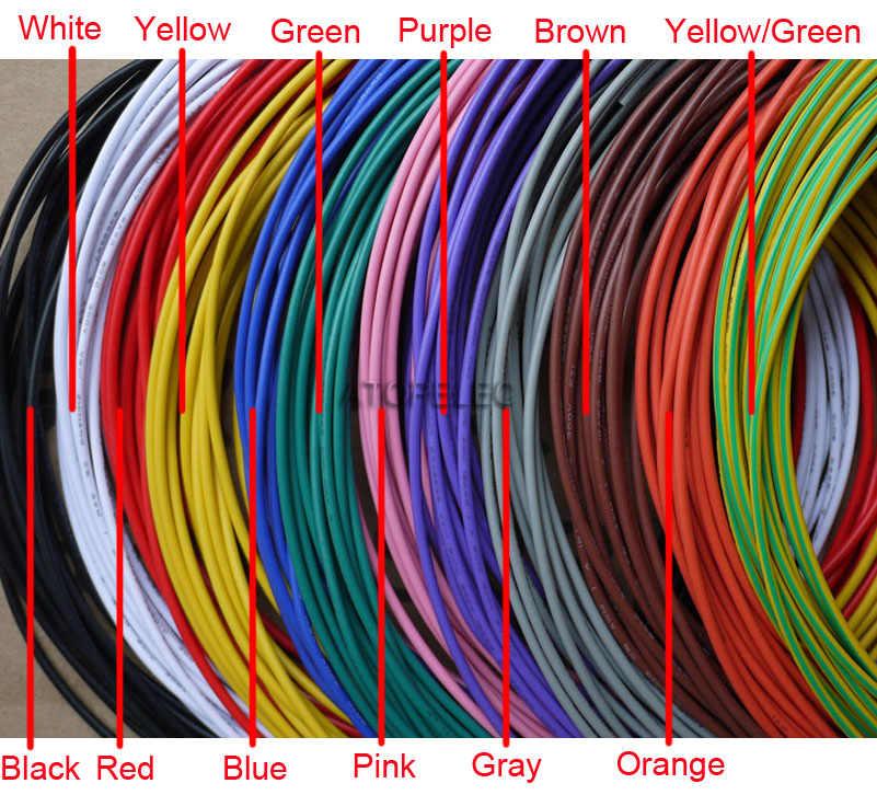 1M UL1015 câble en cuivre étamé PVC 600V 12AWG/14AWG/16AWG/18AWG/20AWG/22AWG/24AWG noir/marron/rouge/Orange/jaune/vert/bleu/violet /gris/blanc