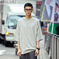 Men Sexy Casual Summer Style Hot Extra Long Shirt Mens Three Quarter Sleeve Extra Long