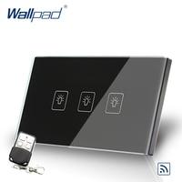 3 Gang 2 Way Remote Switch 118 72mm US Wallpad Black Glass RF Broadlink Wifi Support