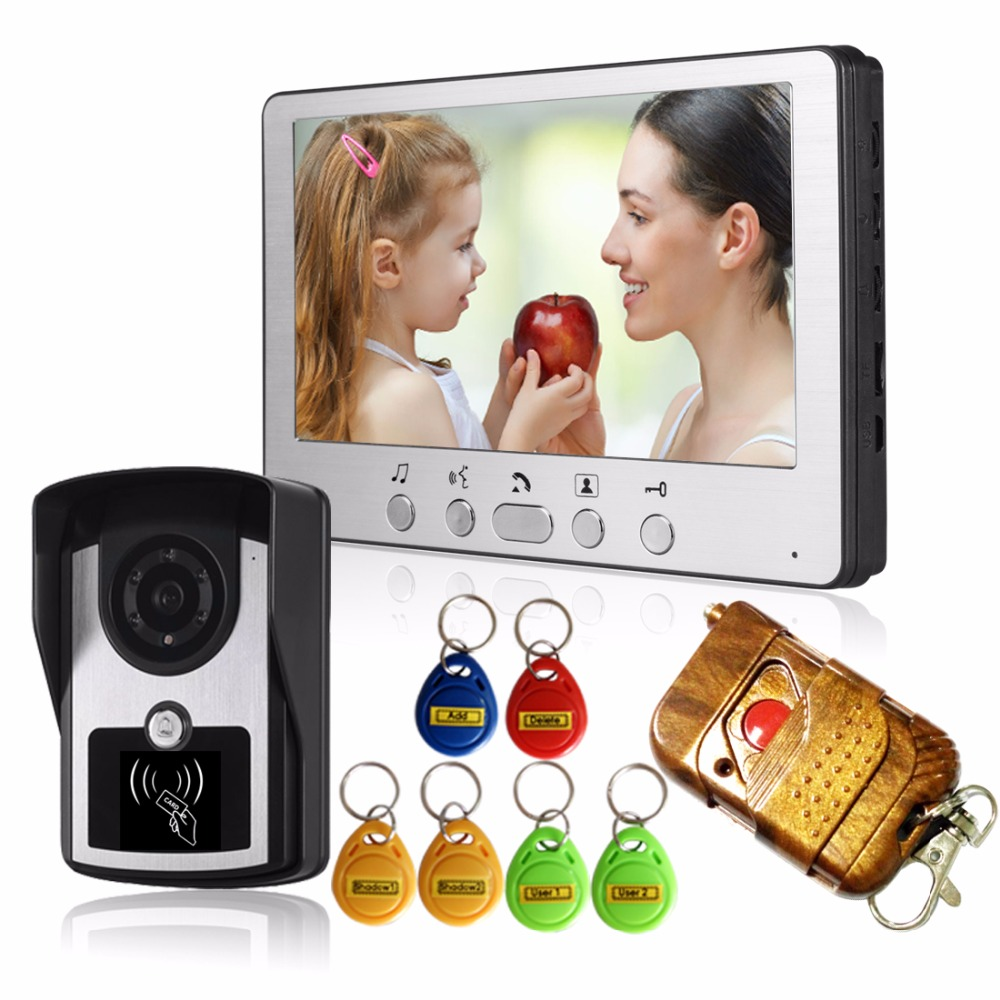 7Color Video Door Phone Video Door Intercom Doorphone IR Night Vision Camera Doorbell  RFID Reader Remote Control For Apartment 7 inch video doorbell tft lcd hd screen wired video doorphone for villa one monitor with one metal outdoor unit night vision