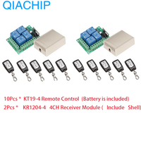 Universal Wireless Remote Control Switch DC 12V 4 CH 10pcs RF Relay Receiver Module + RF Remote 433 Mhz Transmitter Diy 2pcs