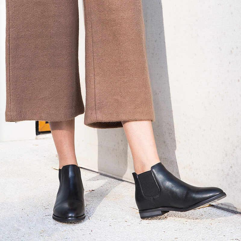 BeauToday Chelsea Çizmeler Kadın Ayak Bileği Çizme Marka hakiki süet deri Yuvarlak Ayak moda bayan ayakkabı El Yapımı 03112