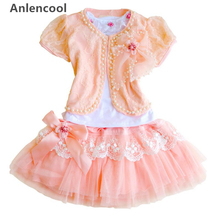 Children's clothing female child summer 2013 lace female child three pieces set female child princess dress free shipping