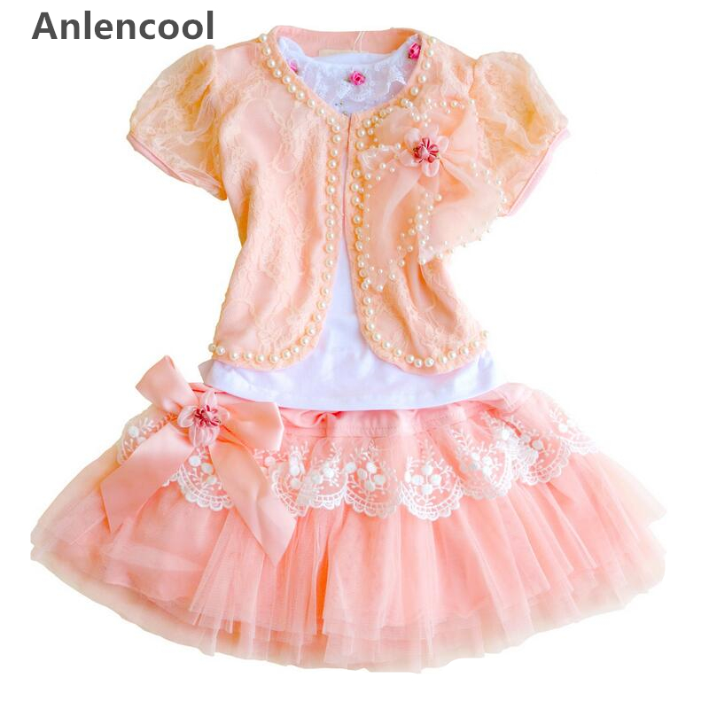 Anlencool Free shipping 2018 latest lace super cute dress of the girls baby dress set baby girl clothing set Girl's dress set