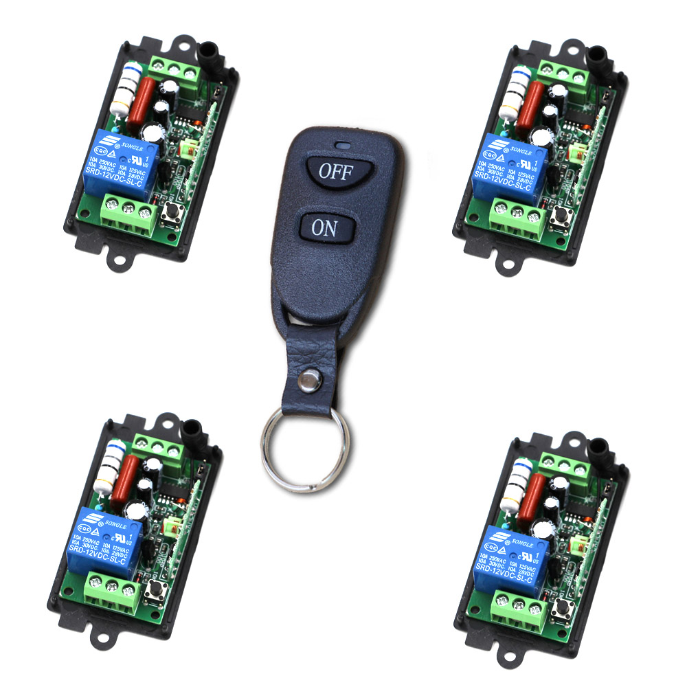 Universal Wireless Remote Control Switch AC 110V 220V 1CH Relay 4pcs Receiver Module and 1pcs RF Transmitter 315/433mhz new arrival ac 110v 220v relay 1ch wireless remote control switch receiver module and rf remote controls 315 433mhz