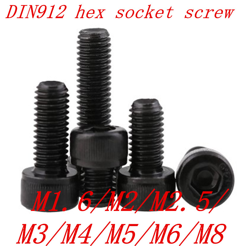 5-50PCS DIN912 Grade 12.9 allen socket head screw M1.6 M2 M2.5 M3 M4 M5 M6  M8 Hexagon Socket Head Cap Screws Hex Socket Screw