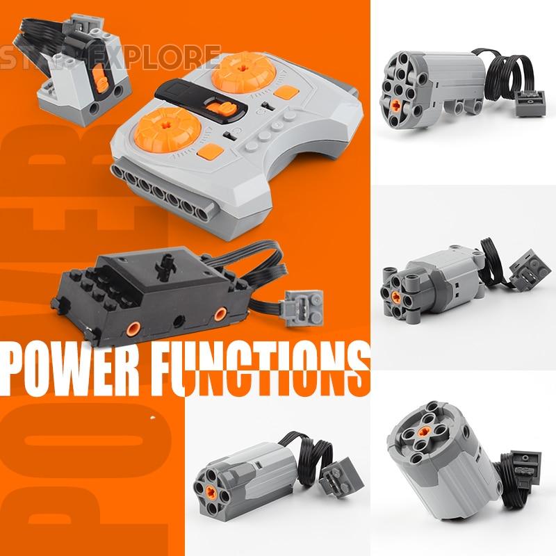 LEPIN Technic Power Functions Motor Train Motor Set IR RX TX Servo Battery Box Blocks Toys