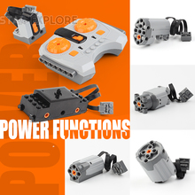 Technic Power Functions Motor Train Set IR RX TX RC Servo Battery Box Building Blocks Toys Compatible 20004 20001