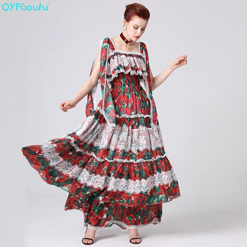 QYFCIOUFU 2019 piste Maxi robe d'été mignon femmes de luxe Rose Floral imprimé Spaghetti sangle robes partie à volants longue robe