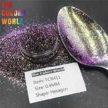 TCT 327 זיקית צבע משושה 0.4MM צבע Shift נייל גליטר מסמרי אמנות קישוט איפור כוסות מלאכות פסטיבל אבזרים