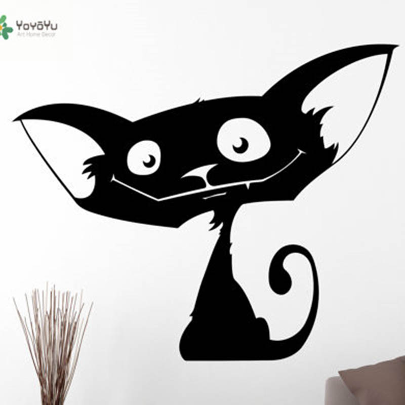 YOYOYU Vinyl Wall Decal Funny Cartoon Cat Cute Animal Art Removable Home Decoaration wall Stickers for kids room FD459 in Wall Stickers from Home Garden