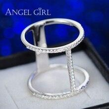Angel girl el real de alta calidad de 925 anillo de plata de ley de moda micro incrustaciones de R35 Anillo CZ para las mujeres 2016 nuevo Envío Libre del regalo