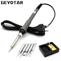 EU/US Plug 220V 60W Electrical Soldering Iron Adjustable Temperature Soldering Gun Welding Rework Repair Tool + 5pcs Solder Tip
