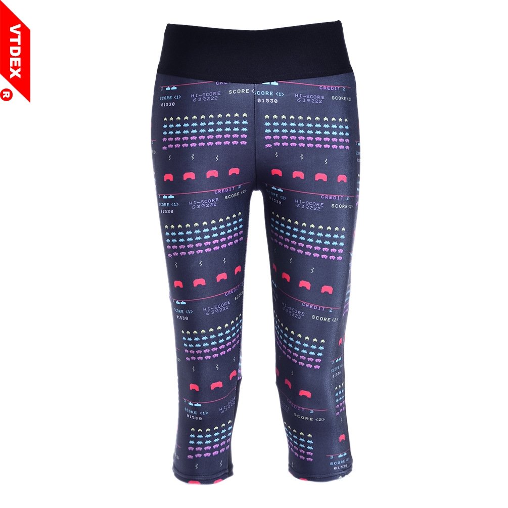 VTDEX 2018 Summer Sports Pants Women Soft Capri Leggings Digital Print Games Running Tights Fitness GYM Yoga Compression Pants