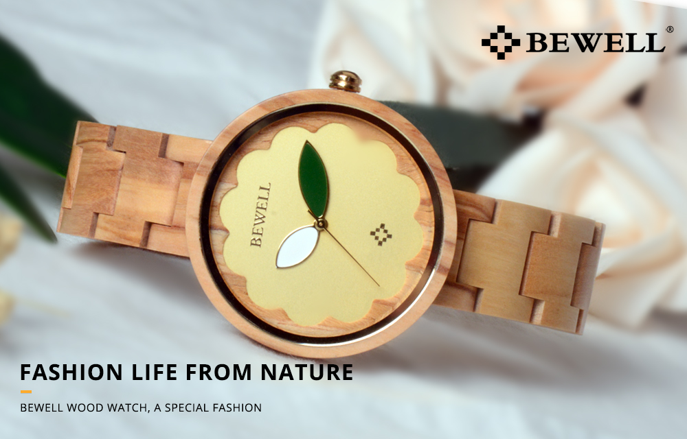 BEWELL Women's Round Luxury Wooden Watch