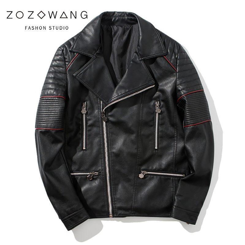 ZOZOWANG 2019 新冬のメンズレザージャケットコート古典的なオートバイの革のジャケットレジャー服プラススタンド襟  グループ上の メンズ服 からの フェイクレザーコート の中 1