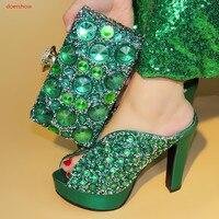 doershow Women green Shoe and Bag Set Italian Matching Shoe and Bag Set African Shoes and Matching Bags Italian BSAA1 7