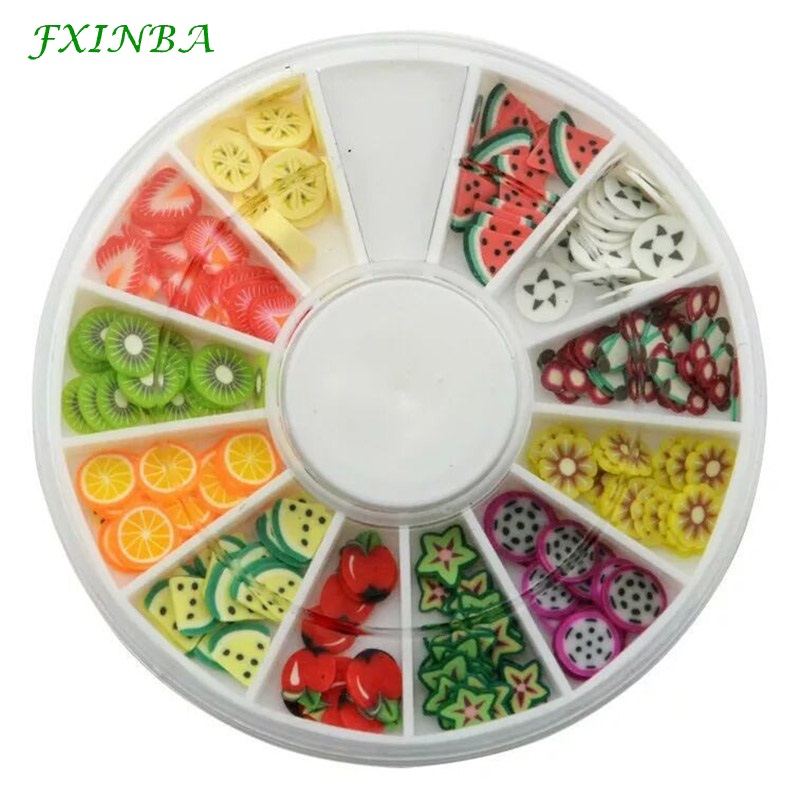 FXINBA 12 Type/Set Mini Fimo Fruit Slices For Slime Supplies/Nails Art Tips Clay Artificial Fruit Slices Slimes Toys Lizun DIY