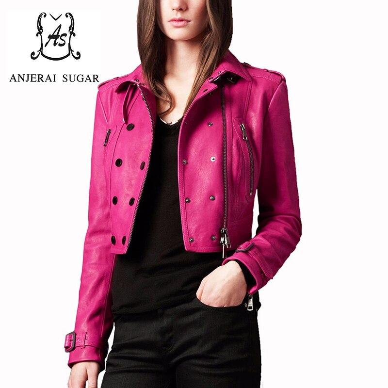 Spring autumn sexy short genuine leather jacket women motorcycle sheepskin leather clothing female Ultra short design Jacket leather jacket