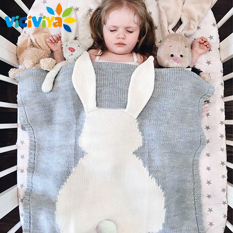 Baby Swaddle Blanket Cute Rabbit Blanket Soft Warm Knitted Newborn Swaddle Sleeping Bedding Wrap Kids Bath Towel / baby blankets newborn cute heart shape knitting blanket soft infant bedding baby blanket sleeping knitted wrap for 0 6y age