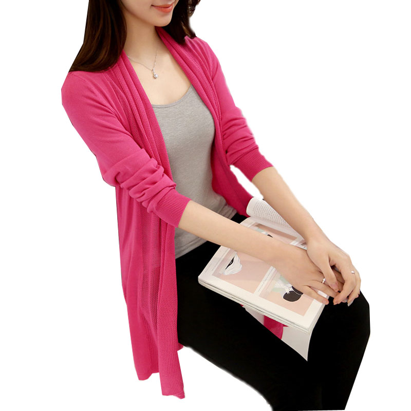 2017 New Spring Summer Women Cardigan Sweater Shawl thin coat sunscreen long sleeves loo ...