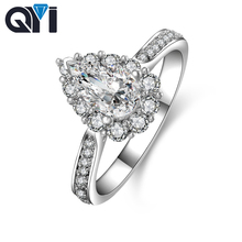 QYI Womens Ring 925 Solid Silver Engagement 1 Carat Drop Shaped Cut Simulation Diamond Wedding Jewelry