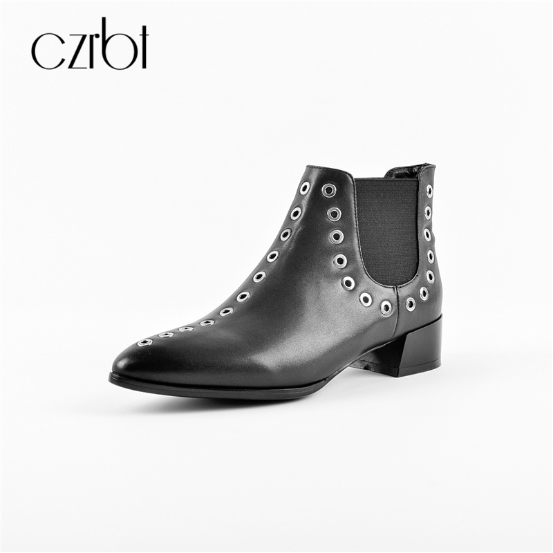 CZRBT Winter Spring New Women Rivet Hole Punk Style Chelsea Boots with Genuine Leather Top Quality Handmade Ladies Martin Shoes handmade quality custom sexy charm contracted style leather side zippers rivet women s knight boots