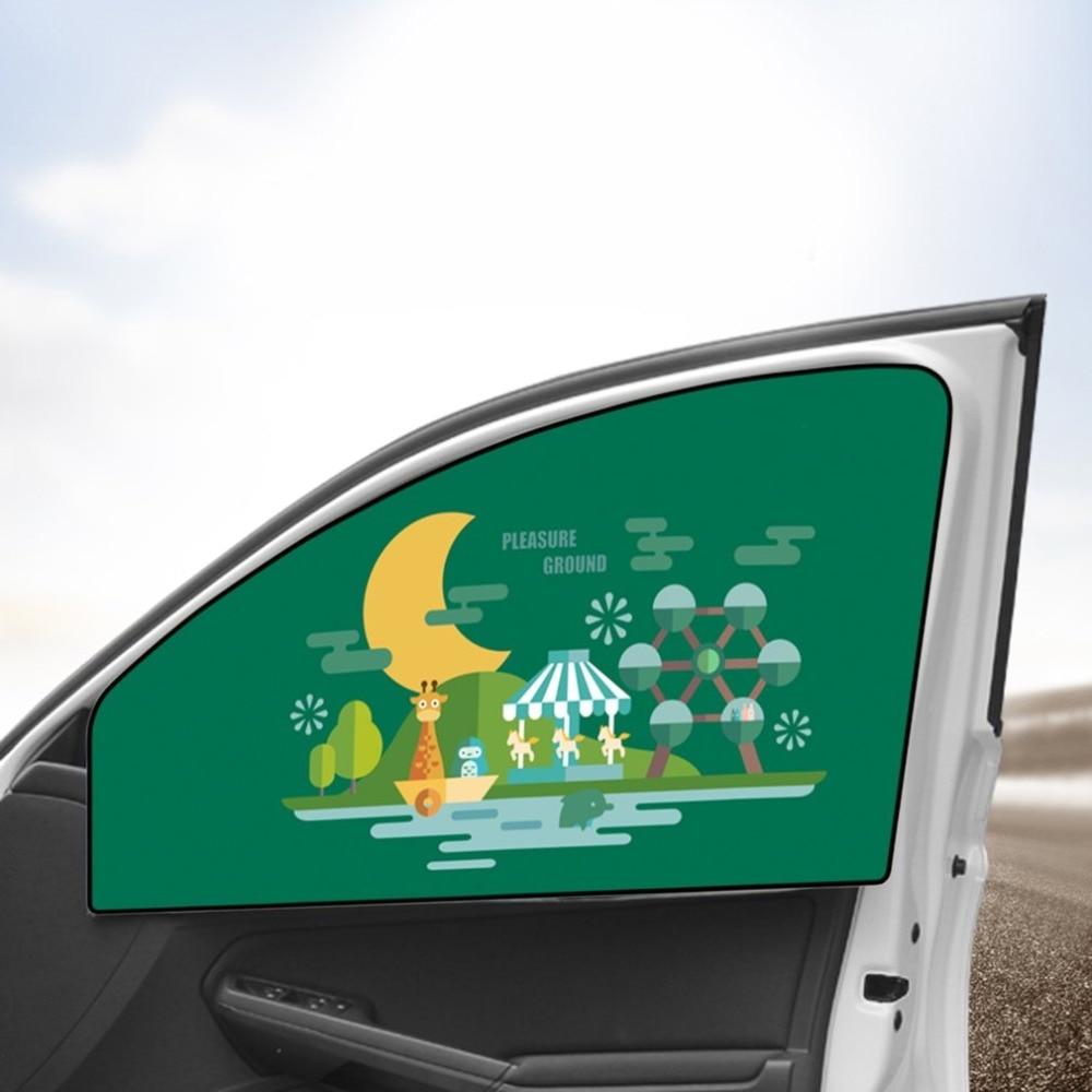 Constructief Magnetische Auto Side Window Zonnescherm Gordijnen Verstelbare Auto Windows Zonneklep Dier Patroon Jaloezieën Cover Zonnescherm
