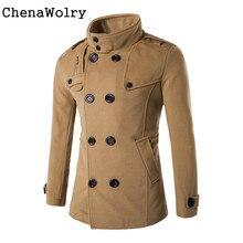 Autumn Winter Casual Slim Long Sleeve Men Fashion Double Row Button Collar Woolen Coat Sweater Top Blouse Free Shipping Dec 1