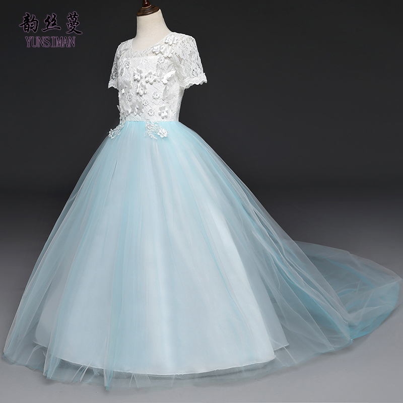 Girls Long Wedding Party Dress 6 8 10 12 to 14 Years Kids Flower Embroidered Sky Blue Lace Princess Dress Girl Teens Cloth B123A knee length belted summer party clothing wedding dress kids 4 to 10 11 12 13 14 15 years 2017 child ivory flower girl lace dress