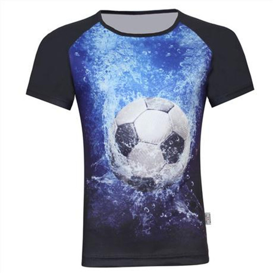 2017 summer children fashion 3d t shirt print football animal