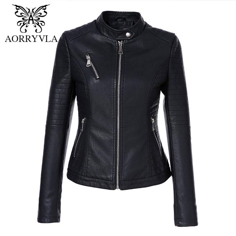 AORRYVLA 2017 Autumn Faux Leather Jackets Women Black Mandarin Collar Zipper Short Jacket Biker Slim Female Pu Leather Jacket oblique zipper faux leather biker jacket