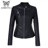 AORRYVLA 2019 New Autumn Women's Leather Jackets Brands Short Black Mandarin Collar Zipper Biker Slim Female Faux Leather Jacket