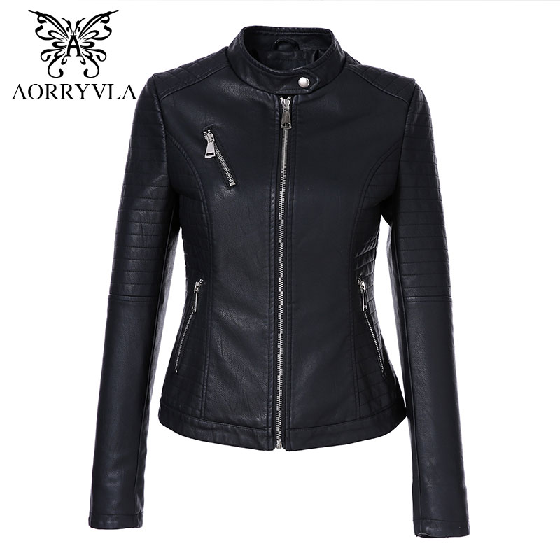 AORRYVLA 2019 New Spring Women's Leather Jackets Brands Short Black Mandarin Collar Zipper Biker Slim Female Faux Leather Jacket