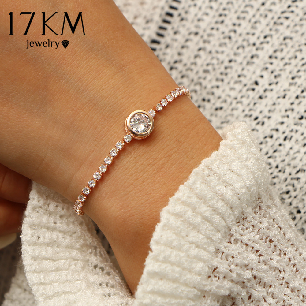 17KM New Round Tennis Bracelet For Women Rose Gold Silver Color Cubic Zirconia Charm Bracelets & Bangles Femme Wedding Jewelry bracelet