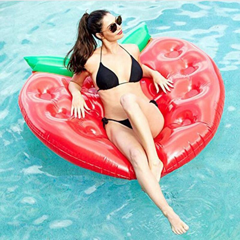 Flotteurs géants de piscine de beignet de Fruit de fraise de 160CM avec le support de verre de 16 trous