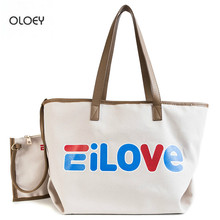 OLOEY 2018 new fashion bucket bag female tide simple versatile shoulder letter canvas handbag large capacity tote