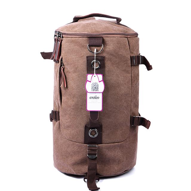 Men's Travel Bag Large Capacity Canvas Bucket Backpack