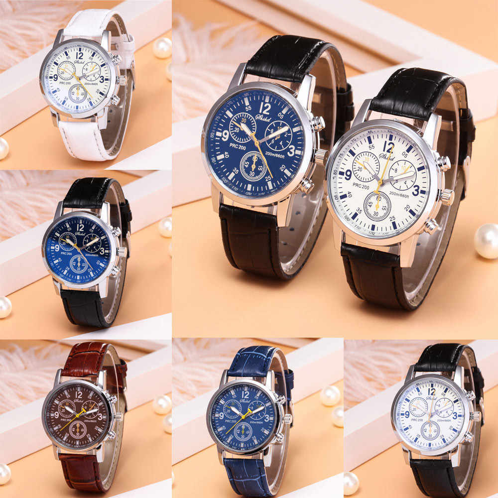 Blue-ray glass neutral quartz simulates wrist epidermal Leather Strap watch relgio masculino large wall clock mechanism men