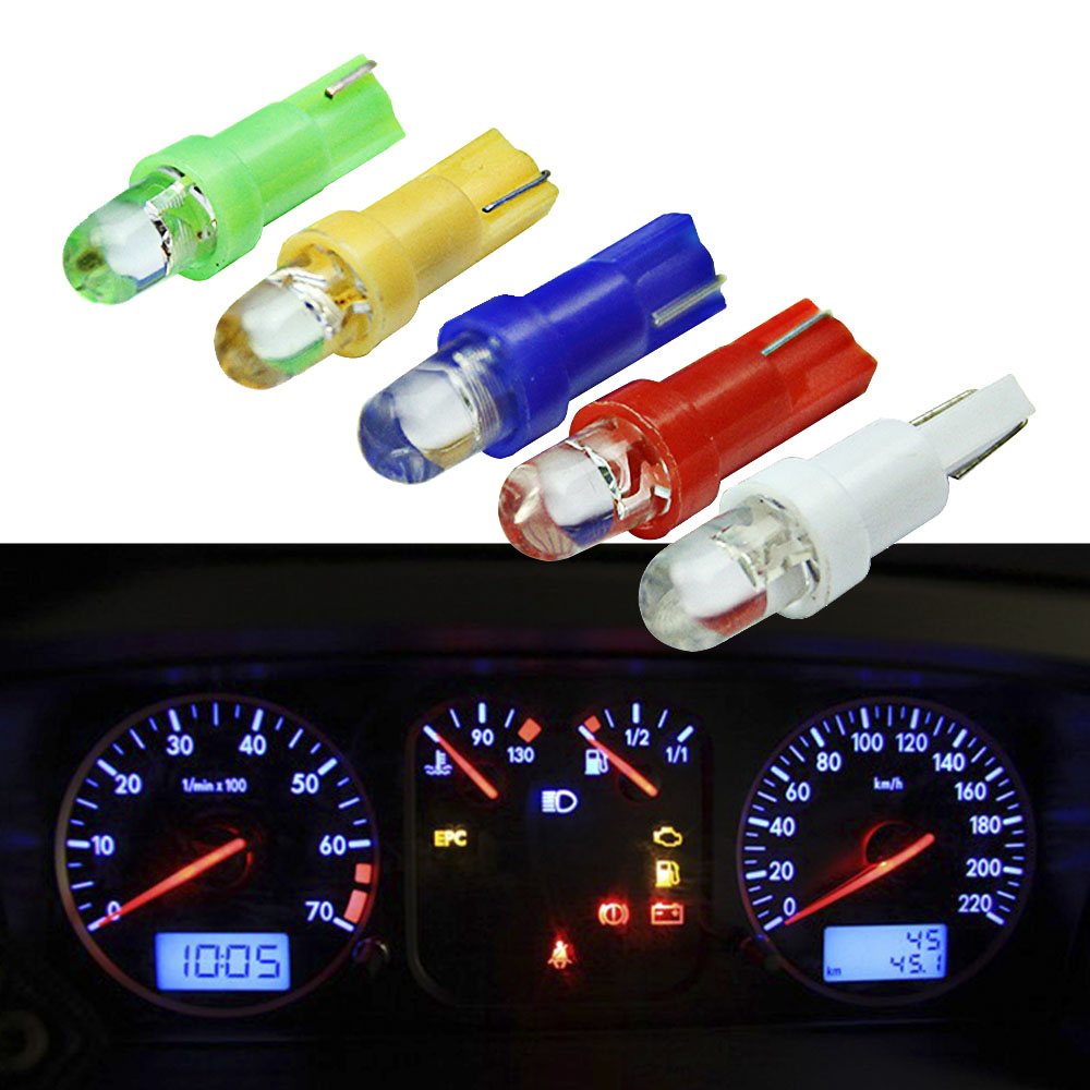 20pcs Car Interior T5 led 1 SMD led Dashboard Wedge 1LED Car Light t5 Bulb Lamp led t5 12v Yellow/Blue/green/red/white led цена