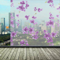 60*200cm Self Adhesive Film Frosted Opaque Glass Window Film Privacy Adhesive Purple Flower Glass Stickers Home Decor