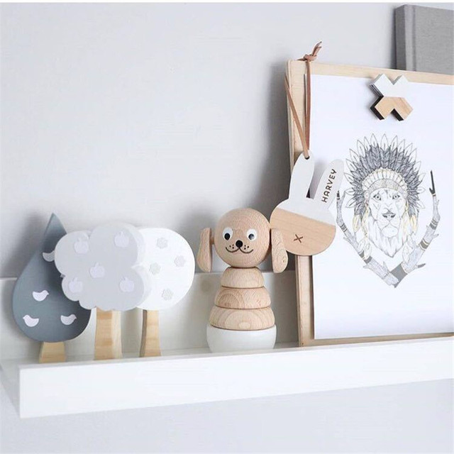 Nordic Style Woodland Wood Tree Block Decoration Handmade Kids Bookends Wall Decor Wooden Tree Children's Room Decoration Props